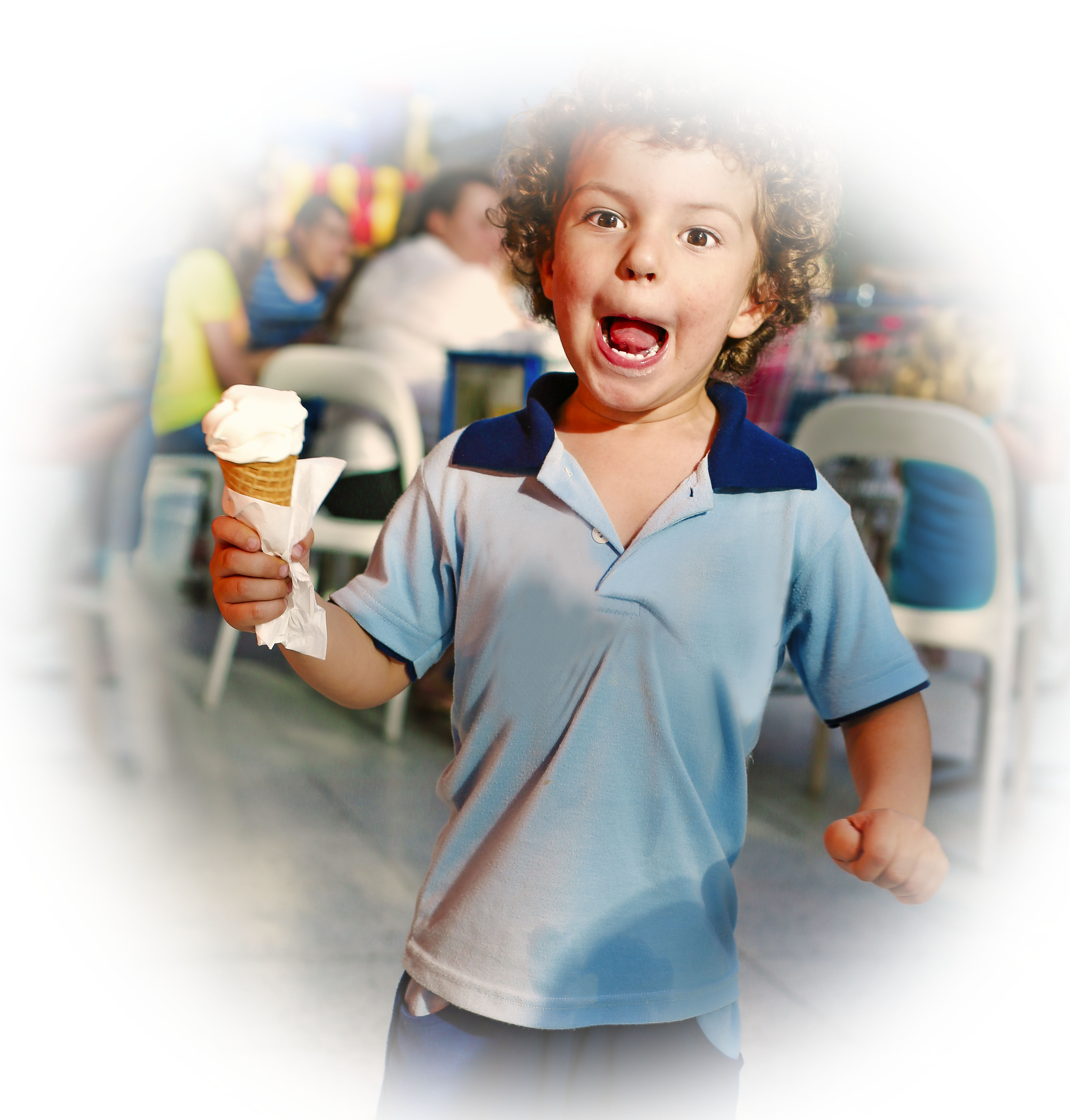 Child boy eating ice cream in a cafe shopping center, concept of fast food